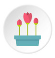 box with flowers icon circle vector image