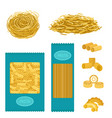 different types of pasta whole wheat corn rice vector image