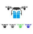 Drone gift delivery flat icon vector image