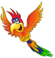 Merry flying parrot insulated vector image