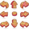 Set of orange doodle ornate arrows vector image