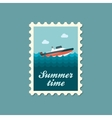 Speed boat stamp Summer Vacation vector image