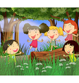 Children playing in the woods vector image vector image
