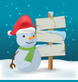 snowman outdoor wood sign cartoon vector image vector image
