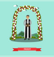 flat of priest under wedding vector image
