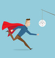 businessman with red cape running follow clock vector image