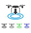 Drone landing flat icon vector image