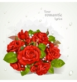 Bouquet of red roses with a field for your lyrics vector image
