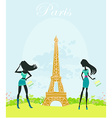 beautiful fasihon girls silhouettes Shopping in vector image