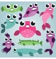 Cartoon sea fish set vector image