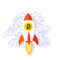 bitcoin rocket ship launching into space im vector image