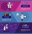 colorful science horizontal banners vector image