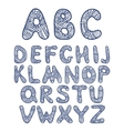 Doodle hand drawn funny alphabet vector image