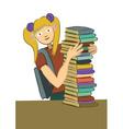 girl books vector image