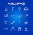 hotel services thin line icons vector image