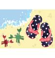 Kids summer flip flops on the beach vector image