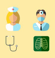 medical icons nurse and doctor shot of lungs and vector image