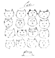 Set of ink cats faces drawn freehand with liquid vector image