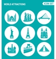Set of round icons white World attractions Mosque vector image