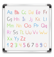 Hand drawn alphabet on whiteboard vector image vector image