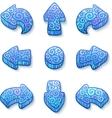 Set of blue doodle ornate arrows vector image vector image