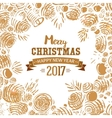 Christmas card with hand drawn sketch vector image