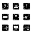 Construction tools icons set grunge style vector image