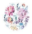 watercolor floral round frame of red roses vector image
