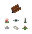 isometric city set of sitting seesaw carousel vector image