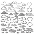 hand drawn clouds collection vector image