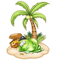 A sleeping pirate monster under the coconut tree vector image vector image