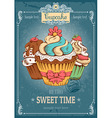 Cupcakes retro poster vector image vector image