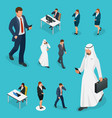 isometric business man and woman with phone young vector image