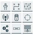 set of 9 robotics icons includes radio waves vector image