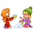 Two girls playing with snow vector image