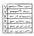 hand drawn with brush checklist or to do list vector image