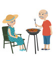 happy grandparents on a rest vector image