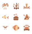 robot icons set cartoon style vector image