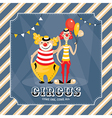 Vintage card with clowns vector image