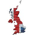 Great Britain map on a brick wall vector image