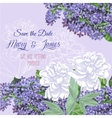 Background with lilac and white peonies vector image