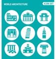 set of round icons white World architecture vector image