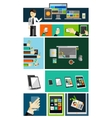 Business life and mobile devices flat concepts vector image