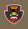 Military Emblem with a skull and the weapon Wings vector image