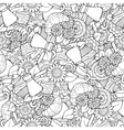 Seamless tea and coffee doodle pattern with vector image