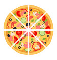 slices of pizza with meat pepperoni tomato vector image