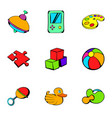 toy icons set cartoon style vector image