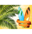 summer tropical surfboard with banner vector image vector image