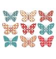 Set of patchwork butterflys 1 vector image vector image