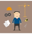 Engineer and construction industry icons vector image